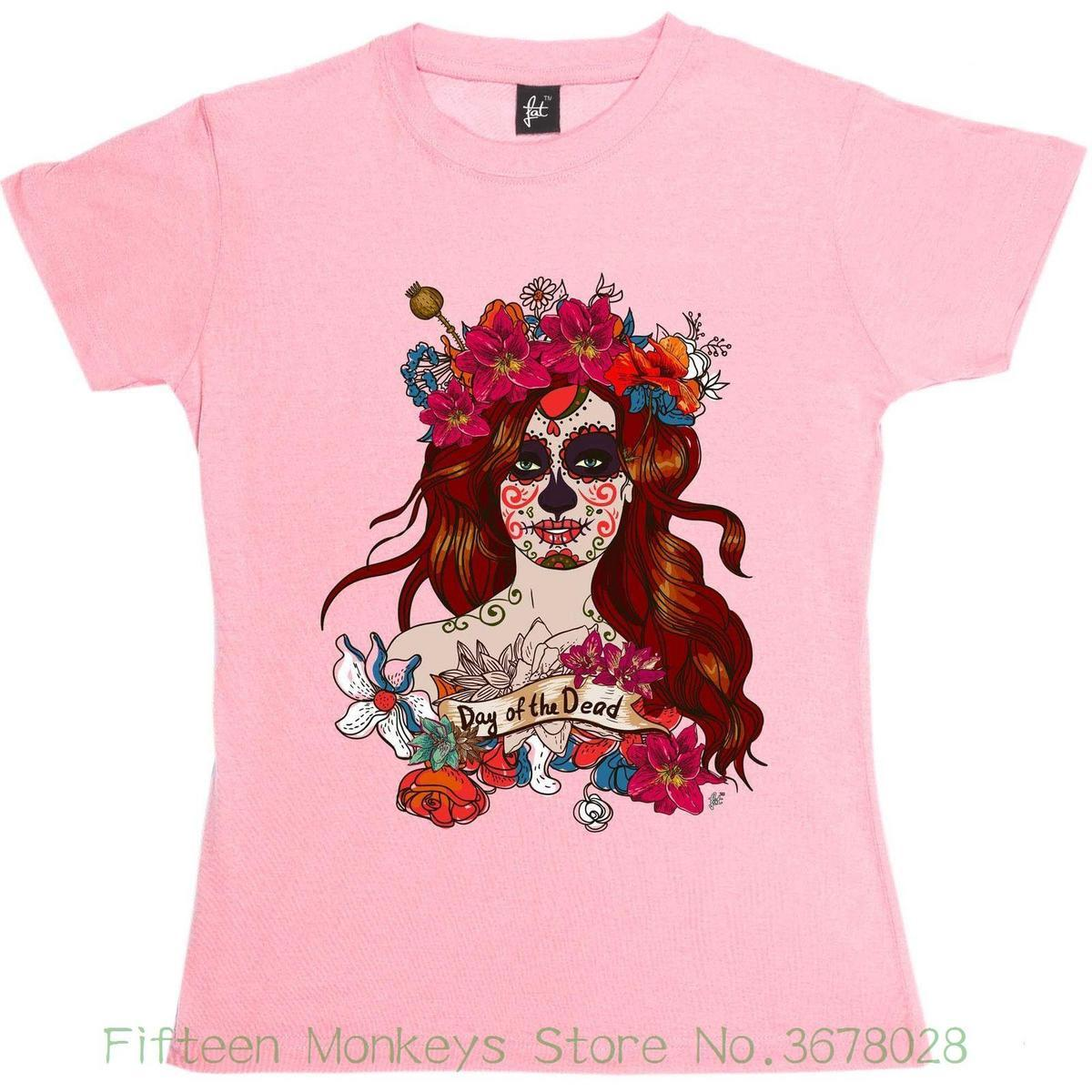 ef32b40c Women's Tee Day Of The Dead Mexican Sugar Skull Woman Womens Ladies T-shirt  Women Sexy Tees
