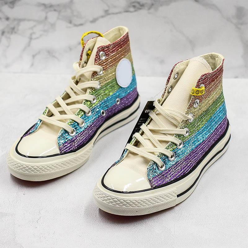 Pride Miley Cyrus Canvas Shoes Rainbow Designer Colorful New Fashion Mens Women Casual Sport High Sneaker
