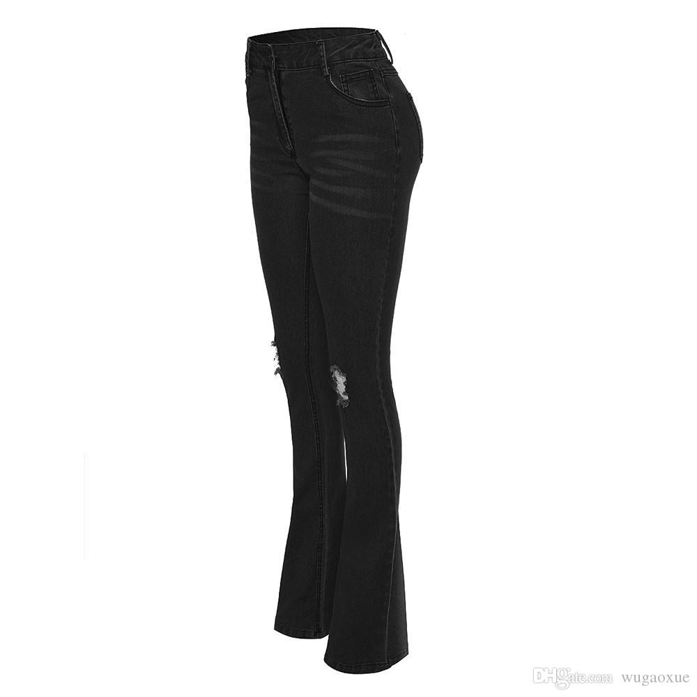 Women's Wide Leg Slim Hip Denim Mid Waist Flare Jeans Pants Stretch Skinny Jeans Hole Female Black Jeanspantalon vaquero mujer