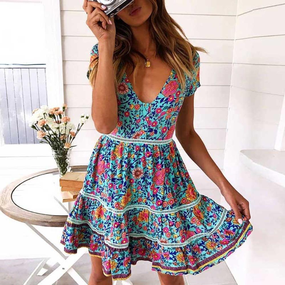 c579064932dd Jastie Boho Dress Daisy Green Floral Print Summer Dress V-Neck ...