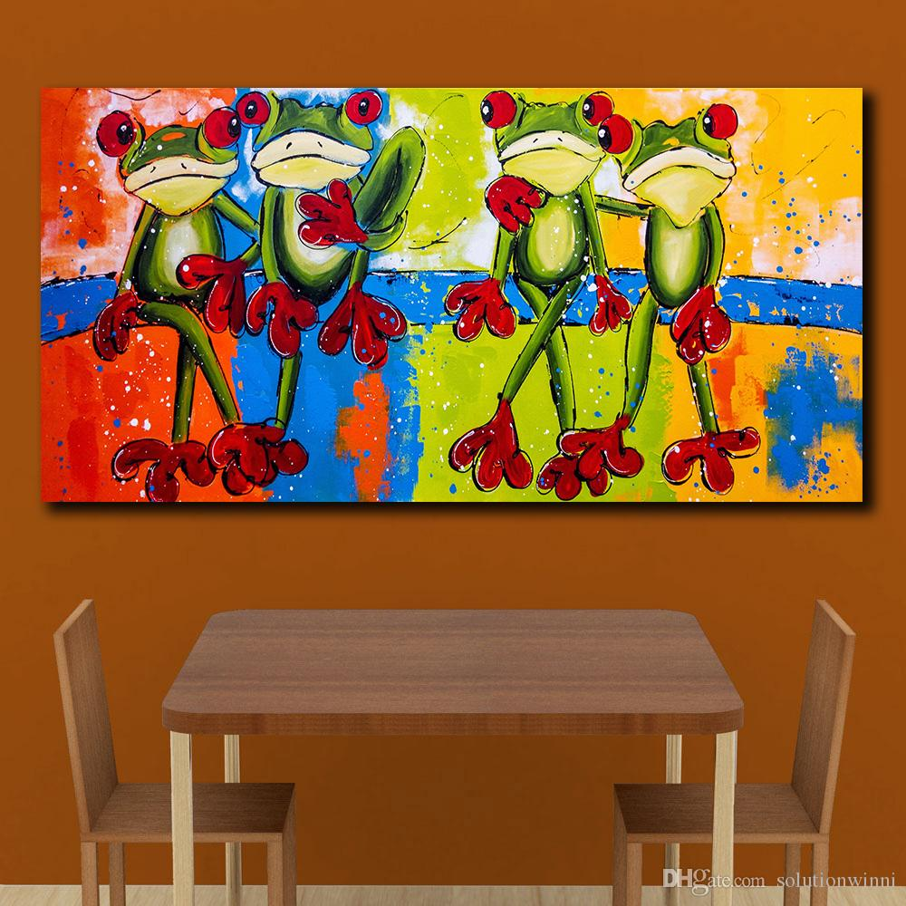Painting Pictures Four Frogs On The Tree Home Decor On Canvas Modern