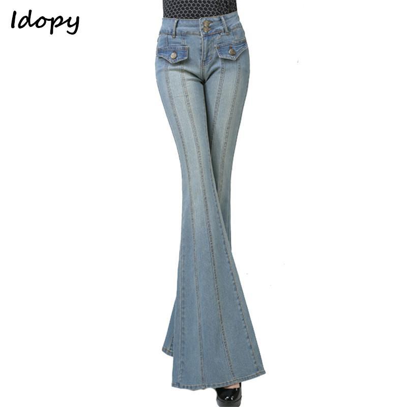 9840d8a2d150e7 Acquista Pantaloni Larghi Del Piedino Delle Donne Dei Jeans Della Gamba Di  Modo Di Idopy Pantaloni 80 Del Denim Del Chiarore Elastico Del `s I Jeans  ...