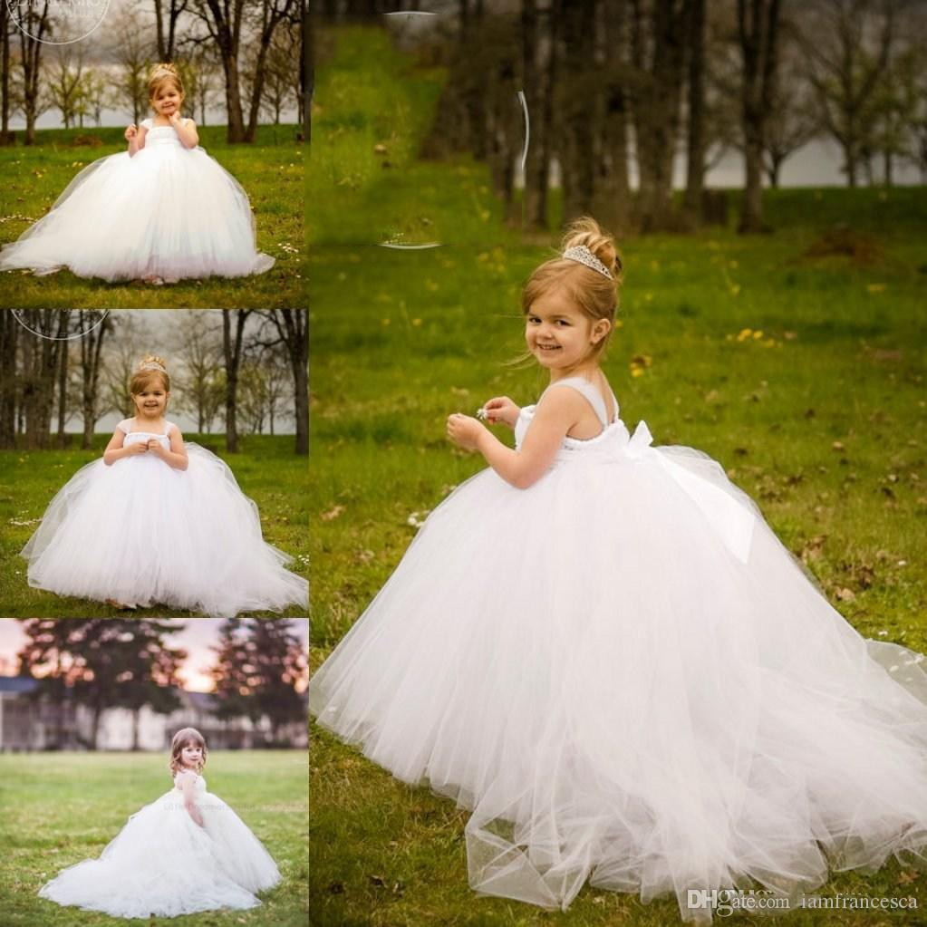 1763edfe002 Miniature Bride White Flower Girl Dresses Spaghetti Ruffle Bow Back Little  Kids Girls Wedding Dress Girl S Pageant Dress Birthday Party Gown Navy Blue  ...