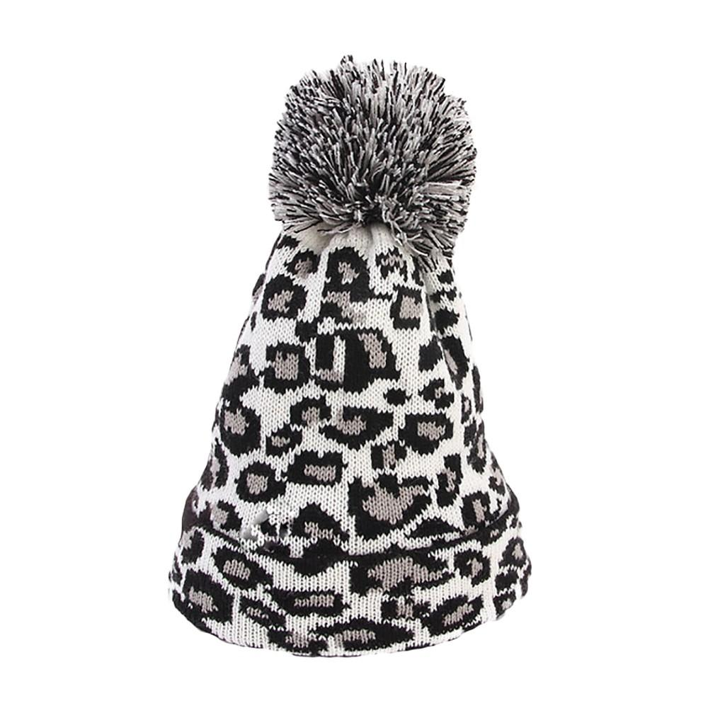 f26f9ffb06ca 2019 Leopard Men Women Faux Fur Ball Knitted Hat Winter Thicken Warm Caps  Pompon Beanie Hat Fashion Caps Pink/Khaki From Superfeel, $34.71 |  DHgate.Com