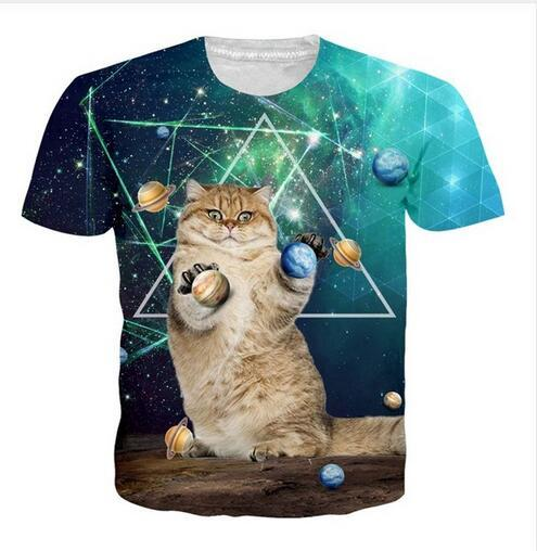 a1eb8a2a49 New Fashion Mens Womans Space Galaxy Planet Cat T Shirt Summer Style Funny  Unisex 3D Print Casual T Shirt Tops Plus Size RTD0127 Cool Tee Shirts  Designs Web ...