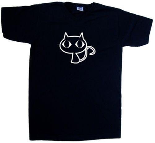 3ed03d6c9272 Big Eyed Cat V-Neck T-Shirt Print Short Sleeve Men Top Novelty T Shirts  Men'S Brand Clothing