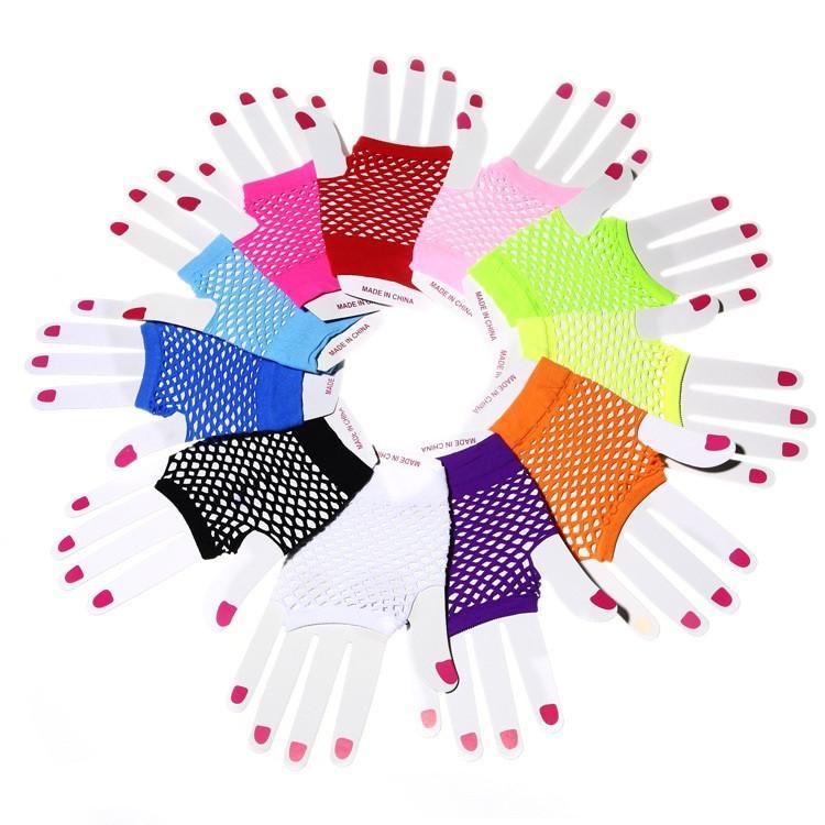 bde534f315 High Quality Neon Short Fishnet Gloves Fish Nets Black Fancy Party Dance  Club Nylon Spandex Mesh Short Gloves 300pair T1C434