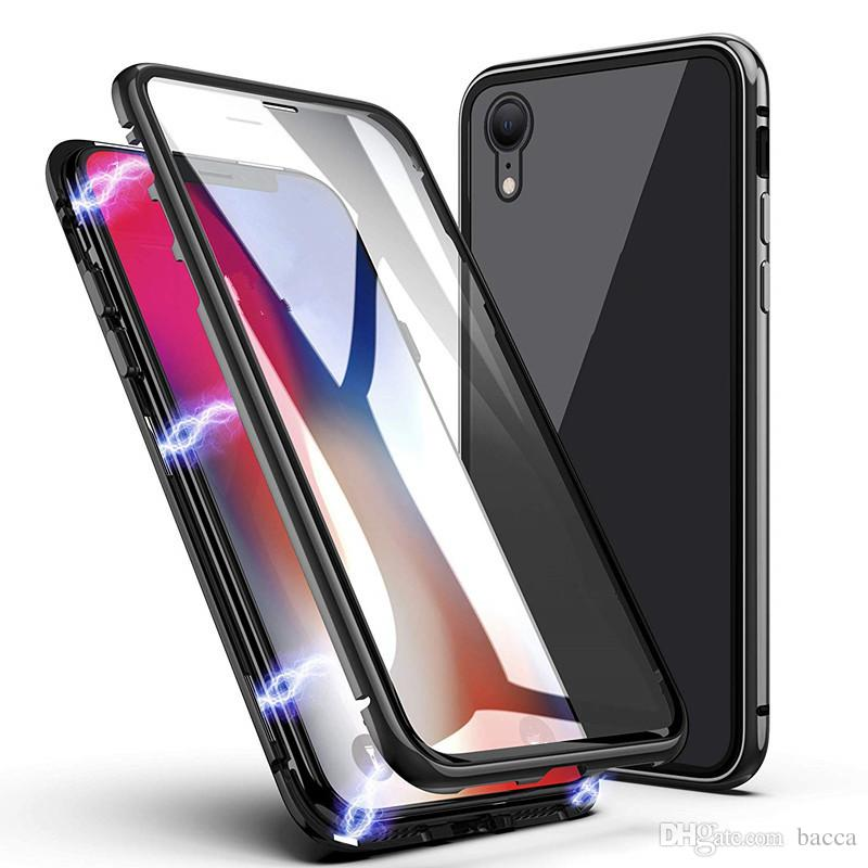 5a75ca60831 360 Magnetic magnet Adsorption metal Hard Case for iPhone X 8 Plus 7 6 6S +Glass  Back Cover for iPhone Xs Max Xr