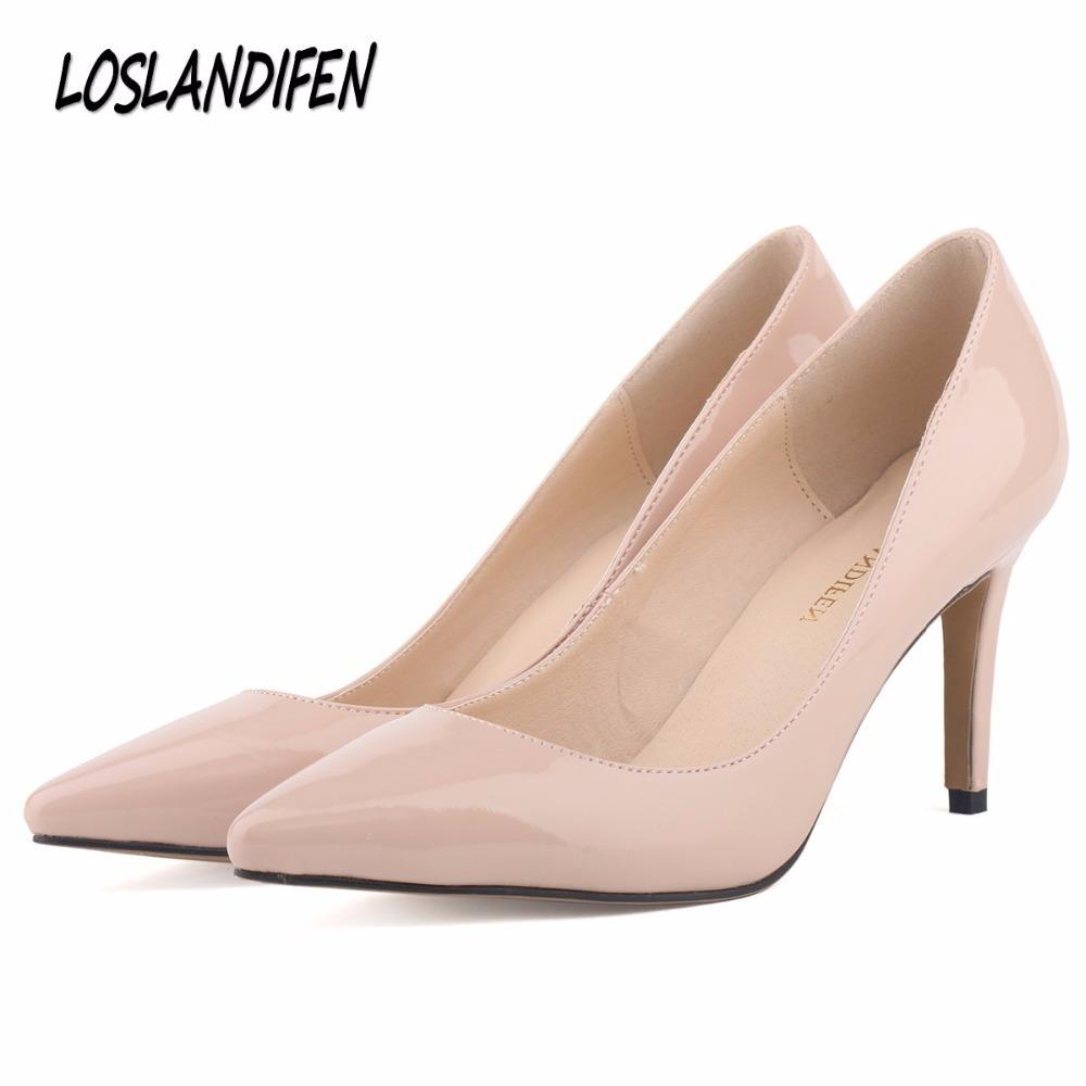 7ff57a999855 Loslandifen New Fashion Star Pointed Toe Solid High Heels Shoes Nightclub  Women S Pumps Thin Heels Slip On Shoes Size 35 42 Mens Shoes Online Mens  Dress ...