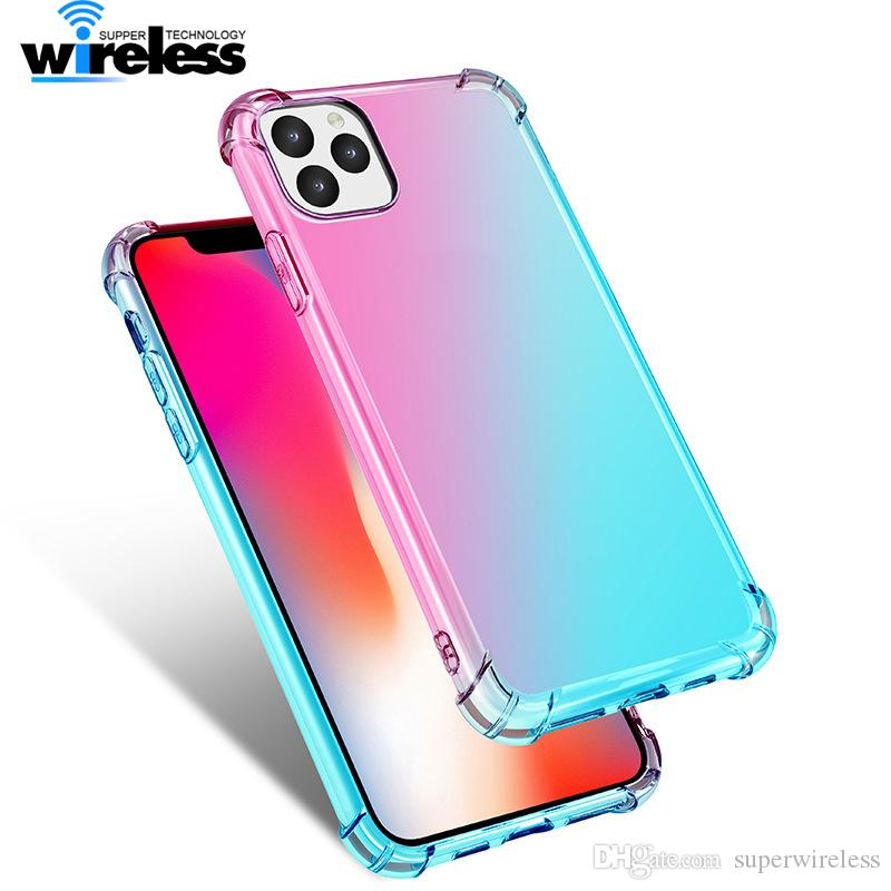 Soft Tpu Case For Iphone 11 Pro Max Gradient Clear Phone Cover For Iphone 11 X Xs Max Beautiful Rainbow Case Coque Shell For Samsung S10