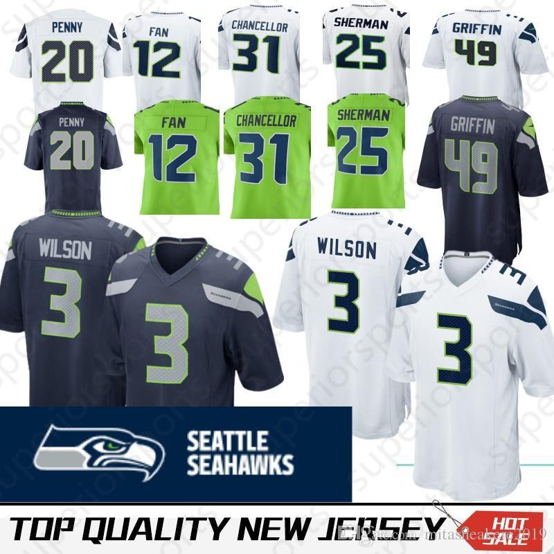 2019 Seattle 49 Shaquem Griffin Seahawk Jerseys 20 Rashaad Penny 3 Russell  Wilson 12 Fan 29 Earl Thomas 31 Kam Chancellor 25 Sherman 16 Lockett From  ... ac565cea4