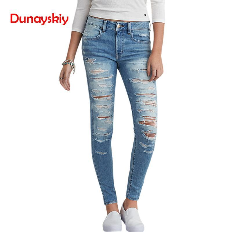 2019 2018 New Classic Distressed Jeans Women Mid Waist Stretchy