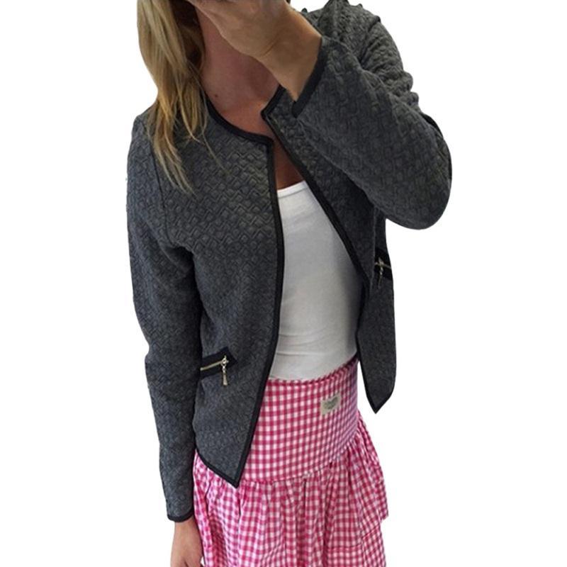 promo code b99eb 284d7 Girocollo Joker Cardigan Zipper Decorazione Cappotto allentato Cappotto  donna Slim maniche lunghe e giacche Autunno nero bianco giacca Basic