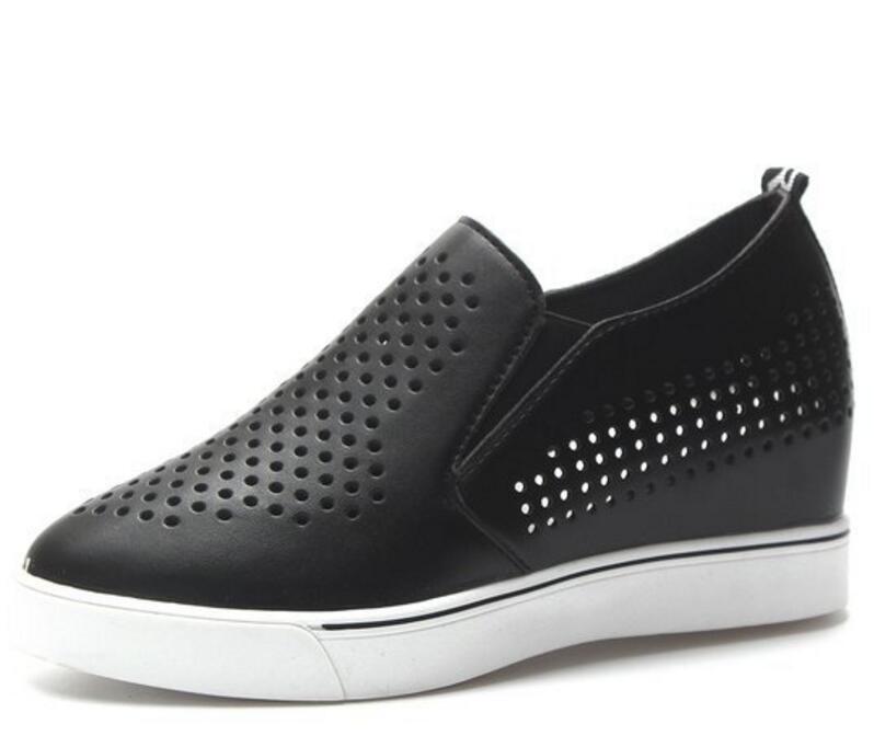 f13124794c Compre Flatform Deslizamento Em Cortar Mulher Sapato Estudantes Altura  Aumentando Senhoras Chaussure Mulheres Cunhas Calcanhares Zapatos Mujer  F180476 De ...