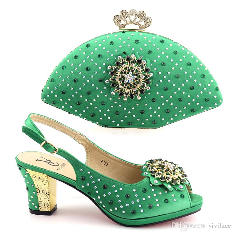 987885f8650 D722-green New Arrival Wedding Shoe And Bag Sets Italian Matching Shoes And  Bag Set in Heel African Shoes And Bags Rhinestone Wedding Shoes Shoes And  Bags ...