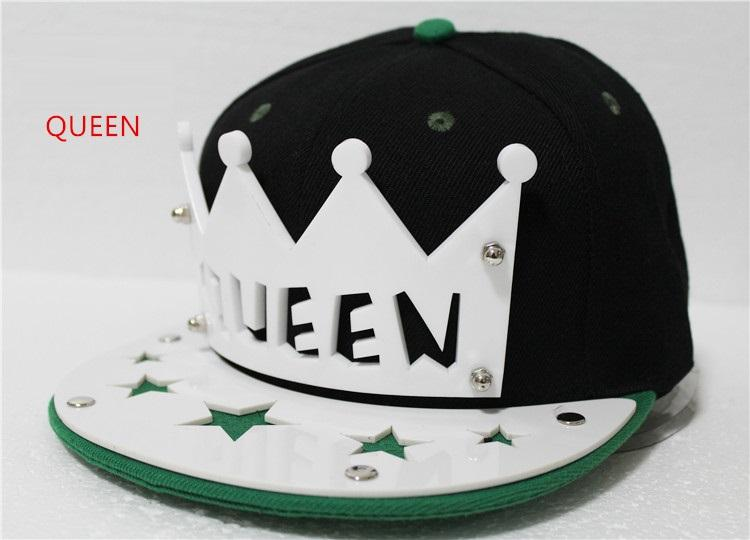 2019 Acrylic Baseball Cap Hip Hop Hat Queen/King Flat Snap-back Punk Gift New