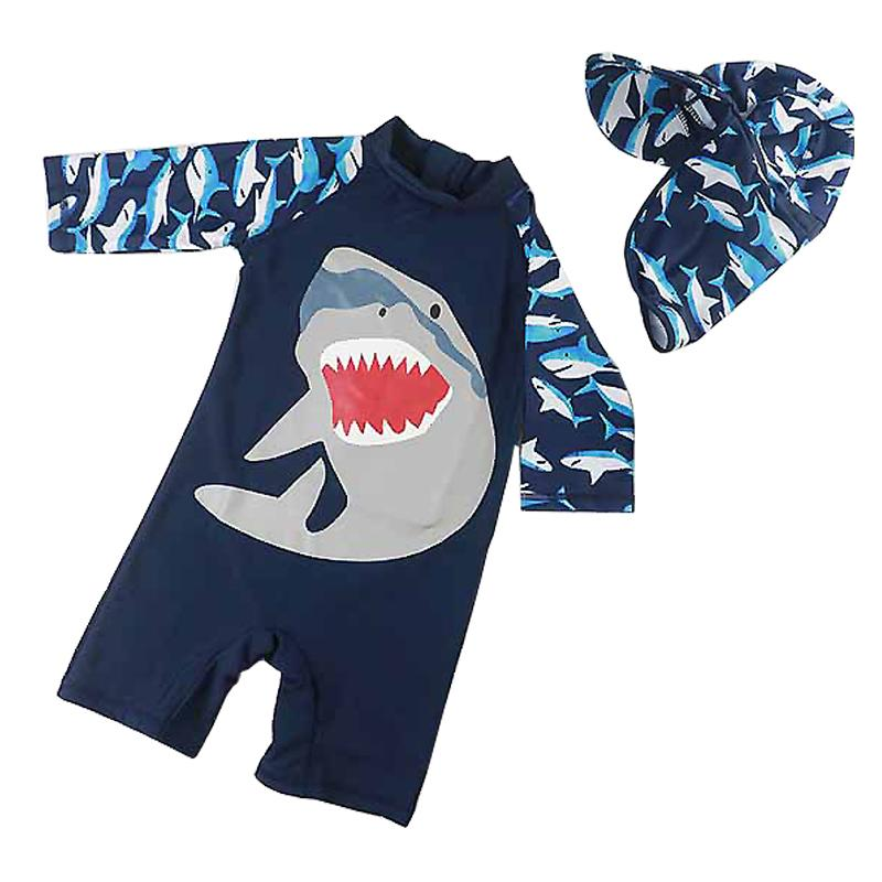UPF50+ One-Piece Boys Swimwear Blue Beach Bathing Suit Long Sleeve Cartoon Sports Swimsuit Baby Boy Children Swimwear Kids