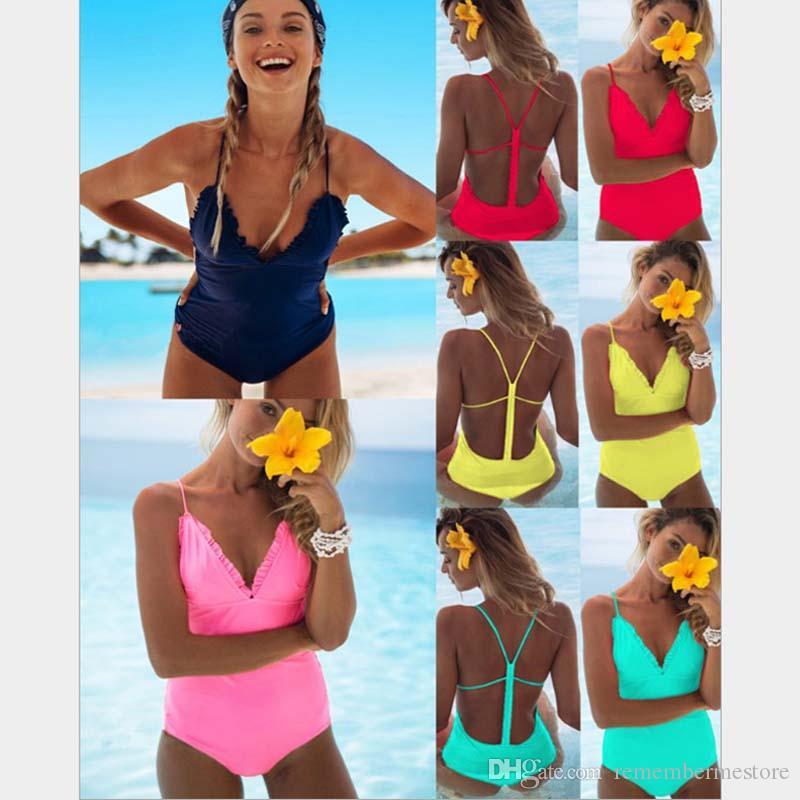 Yellow Compre Solid Para Sexy Pieza De Baño De Trajes Una Bikini 54Lc3qjSAR
