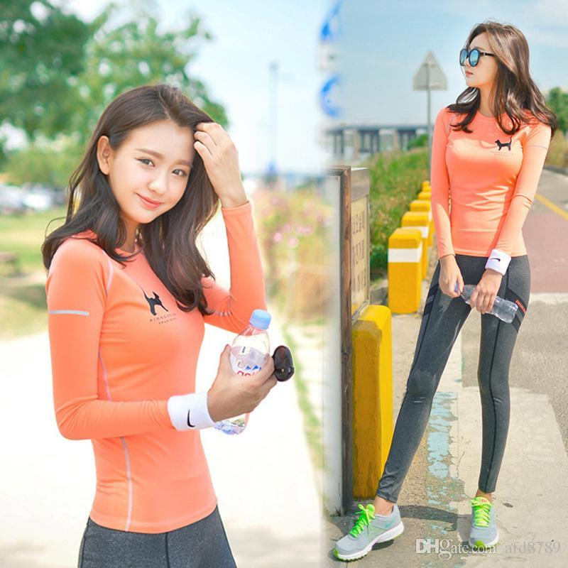 33683aaa5b Women Yoga Wear Elastic Leggings Tights Long Sleeve Sweater ...