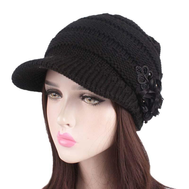41b1592874831 2019 Womens Knit Beret With Flower Wool Blend Visor Hat Girls Baggy Beanie  Cap Newsboy Hat New From Junemay
