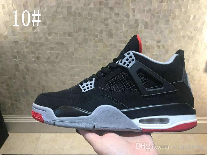 03361bf4bb2c80 2019 New 4 RETRO BLACK CEMENT GREY RED Men Basketball Shoes High Quality IV  4s Bred Black Red Mens Sports Sneakers Designer Shoes Basketball Shoes Mens  ...