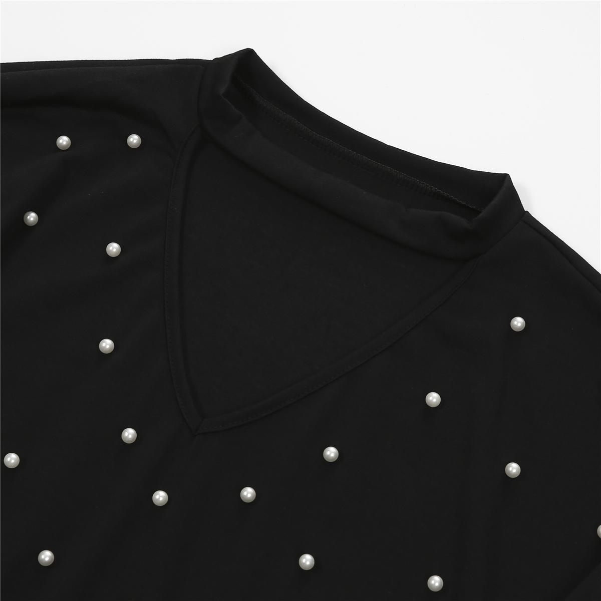 Le donne di modo della perla perline V Cut girocollo casual a maniche lunghe T-Shirt Top Cut donna Tops