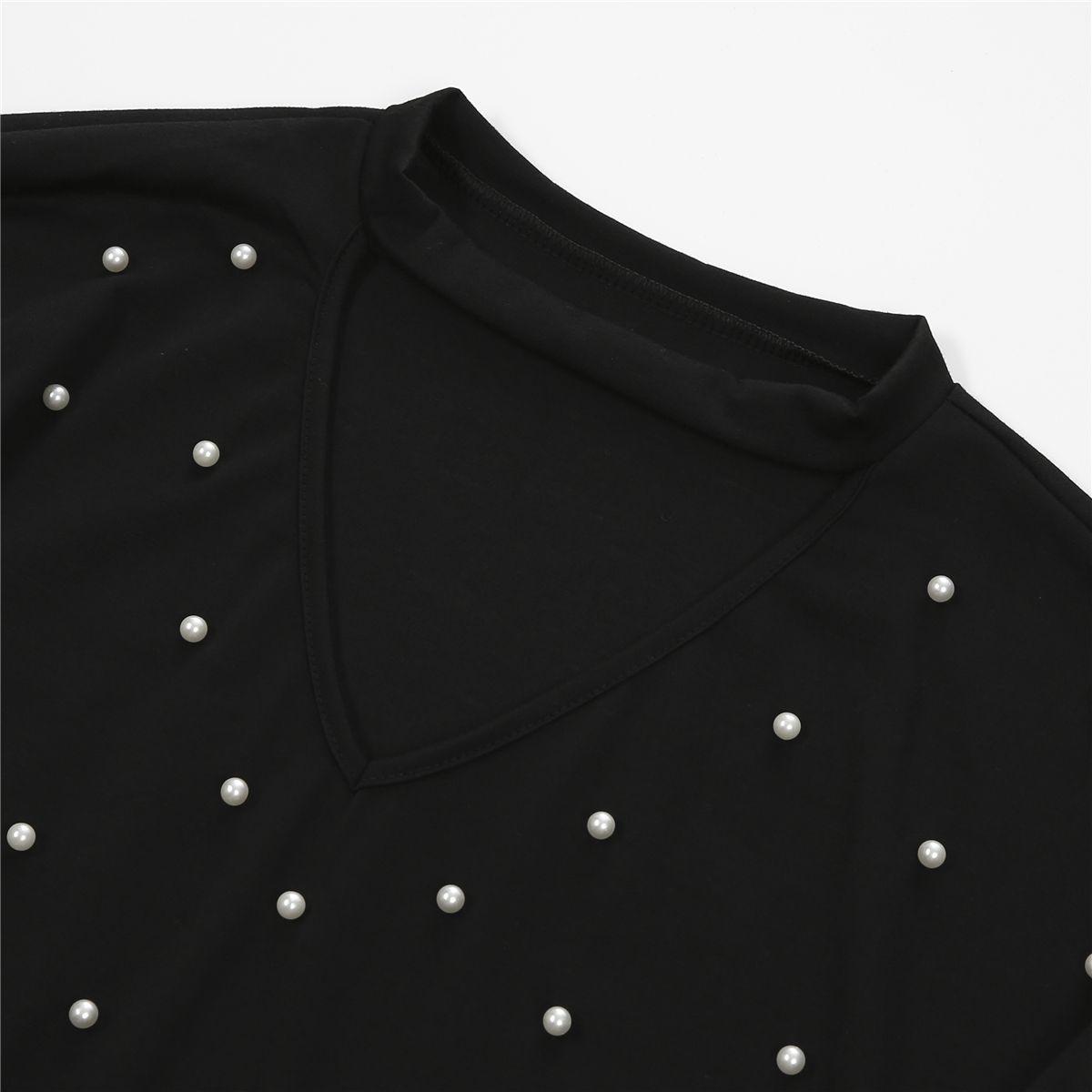 Mulheres Moda Pérola Beading V Cut Choker Casual T-shirt manga comprida Tops Tops Cut senhoras