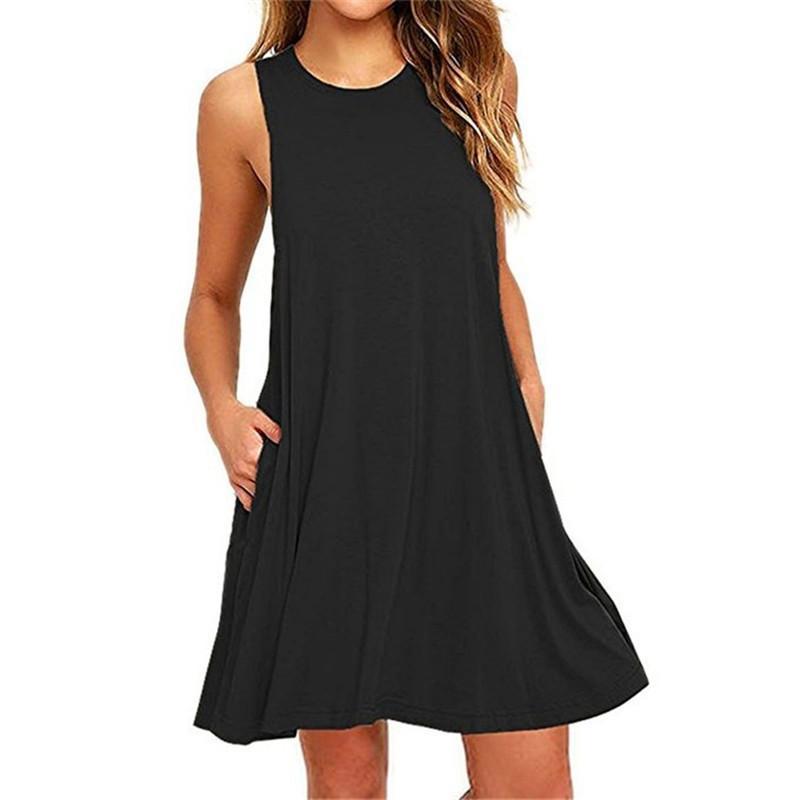 f43070d0ea Acheter Summer Cats Dress Femmes Plage Sans Bouche Robe Noire Casual Mini  Poche Lâche Femme Plus La Taille De La Mode De $74.32 Du Cety | DHgate.Com