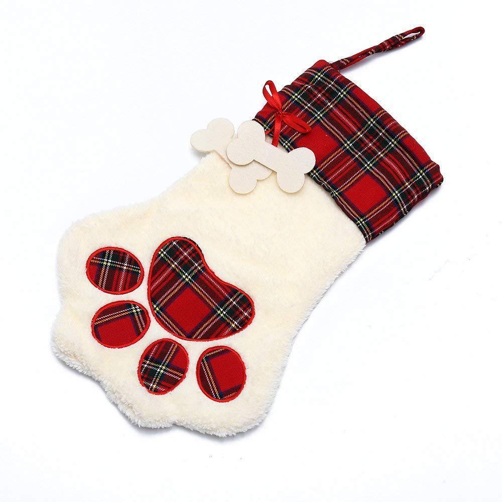 Dog Paw Plaid Christmas Stock Gift Bags Personalised Christmas