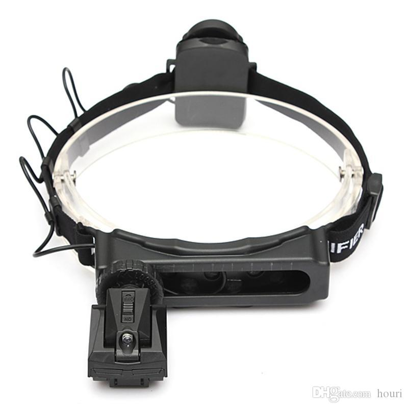 08.05 / 20X Vergrößerungsglas Headset LED-Licht Kopflupe 8-Objektiv für Lese Uhr-Reparatur-Werkzeug-Loupe