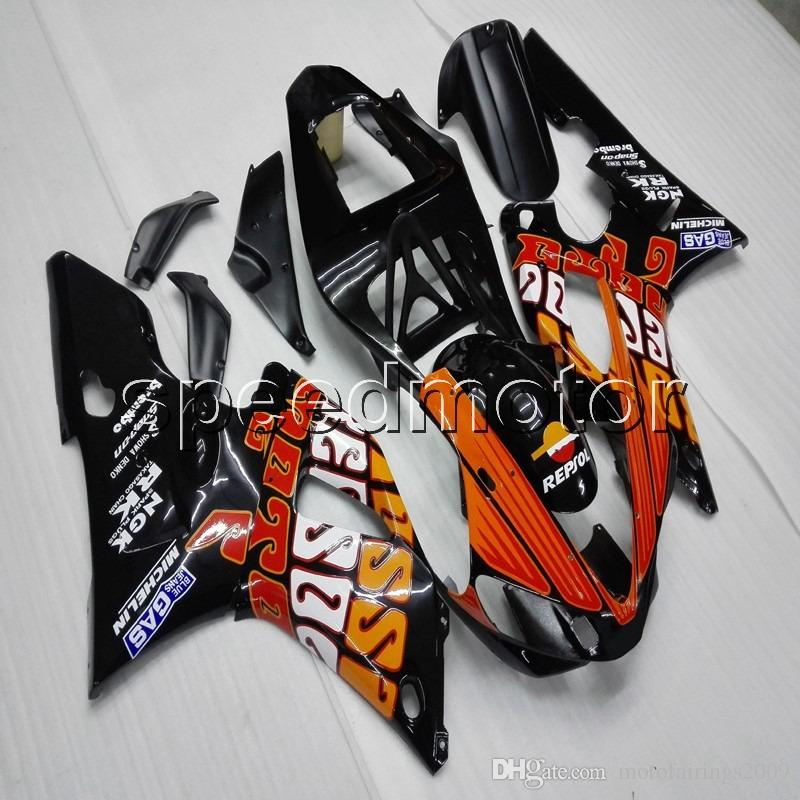 Custom + Screws orange schwarz ABS-Motorradverkleidung für Yamaha YZFR1 00 01 YZF-R1 2000-2001 Body Kit Motorplatten