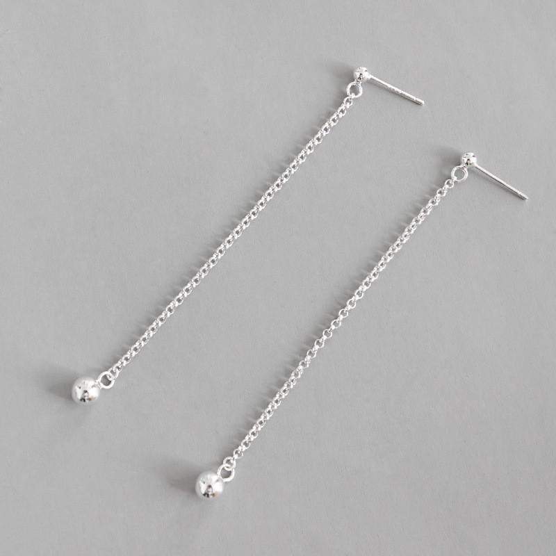 2835ae775c805 Jsmpfy 100% 925 Sterling Silver Dangle Earrings Simple Beads Chain Tassel  Pure Silver Long Earring Female Student Gifts