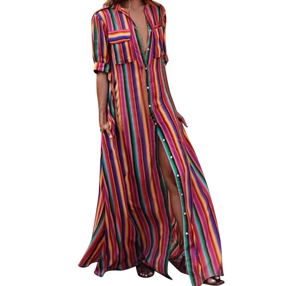 4f093352481 Women Half Sleeve Striped Dress Multicolor Loose Button Boho Ankle ...