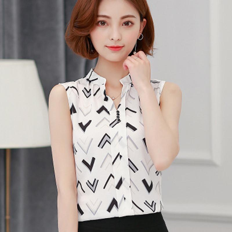 537fb787e4 Compre Camisa De Verano Blusa Para Mujer Y Camisa Blusas Sin Mangas Para  Mujer 2019 Nueva Raya De Moda Coreana   Flor Para Mujer Chiffon Top De  Verano A ...