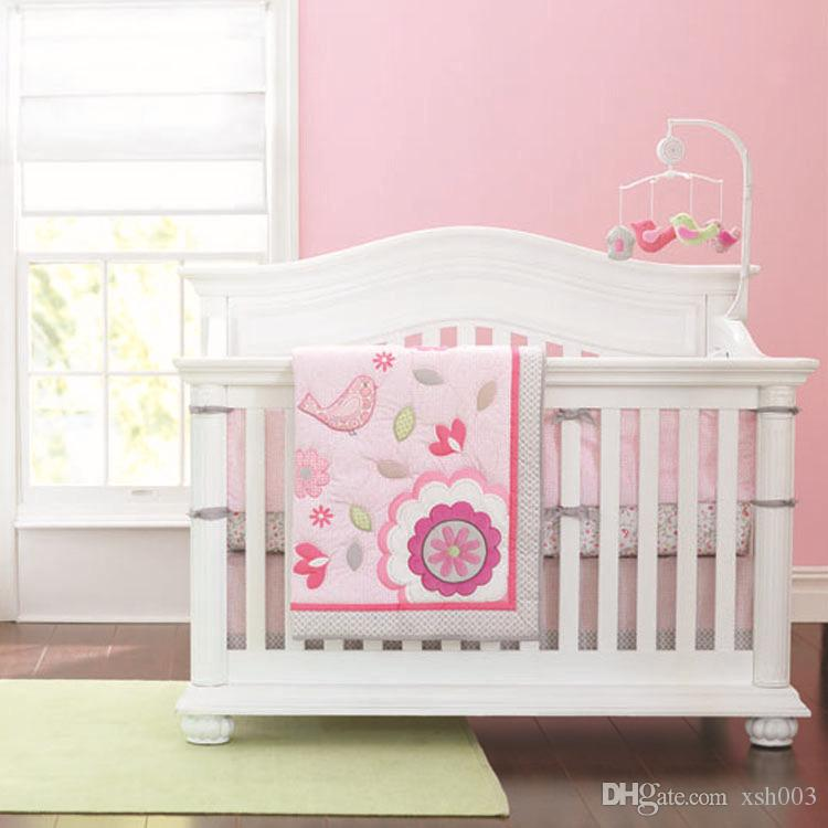 7Pcs Baby bedding sets Applique Embroidery 3D bird Crib bedding set cotton  Cot bedding set for baby girl Cot bumper set Quilt Bumper