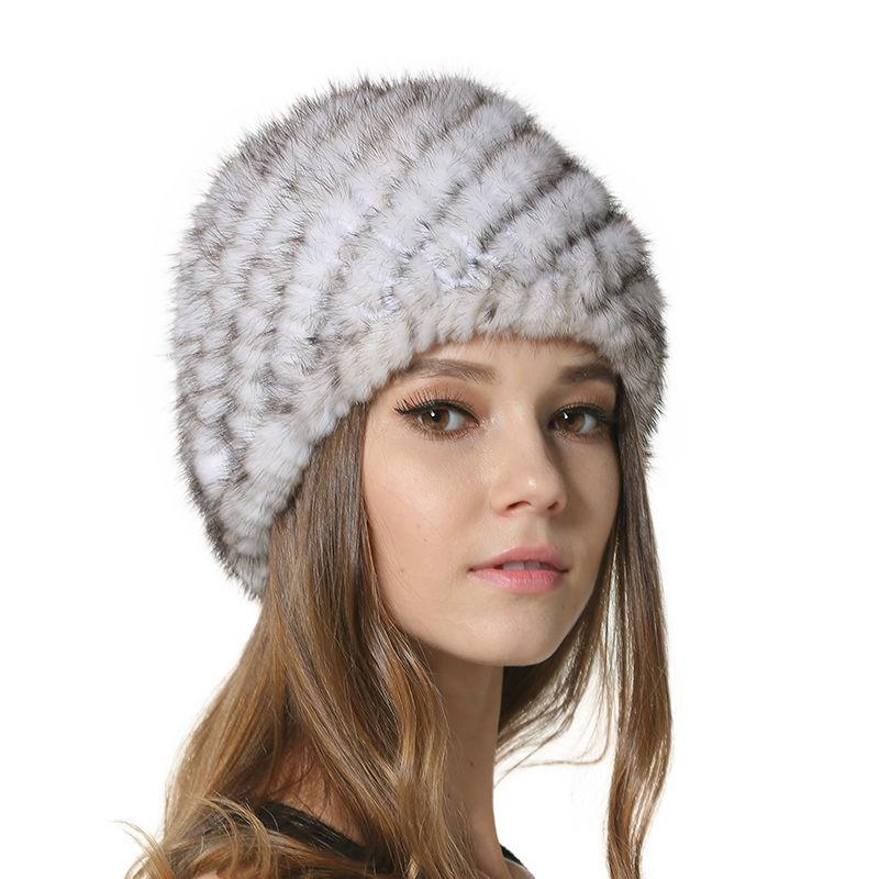 c069e1794997c Lovely Womens 100% Real Mink Fur Hat Ladies Natural Mink Fur Caps Winter  Casual Beanie Headwear With Knitting Liner LX00639 D19011503 Wholesale Hats  Fur ...