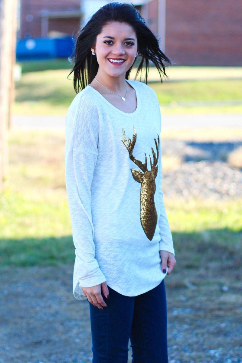 Manga comprida Mulheres de Ouro cervos T-shirt da forma Natal roupas usar algodão Mulheres Roupa Top em torno do pescoço T-shirt Outono Primavera