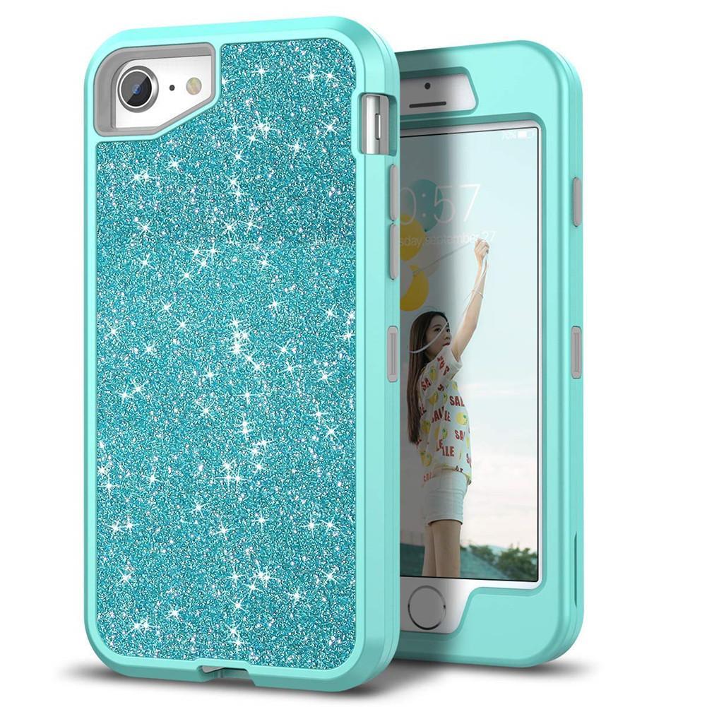 For Iphone 7 plus Case Luxury Women Bling Glitter Cover Heavy Duty Hybrid  Full-Body Protective Cover Defender Case For iPhone 7 7plus c517ecefbe