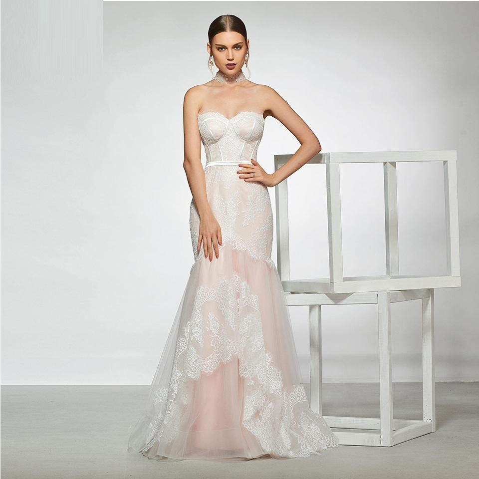 elegant sample sweetheart neck trumpet lace wedding dress sleeveless floor length simple bridal gowns wedding dress