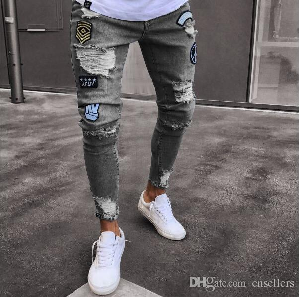 Designer jeans badge trend knee hole zipper hole explosion section casual pants luxury GG brand jeans high quality wholesale