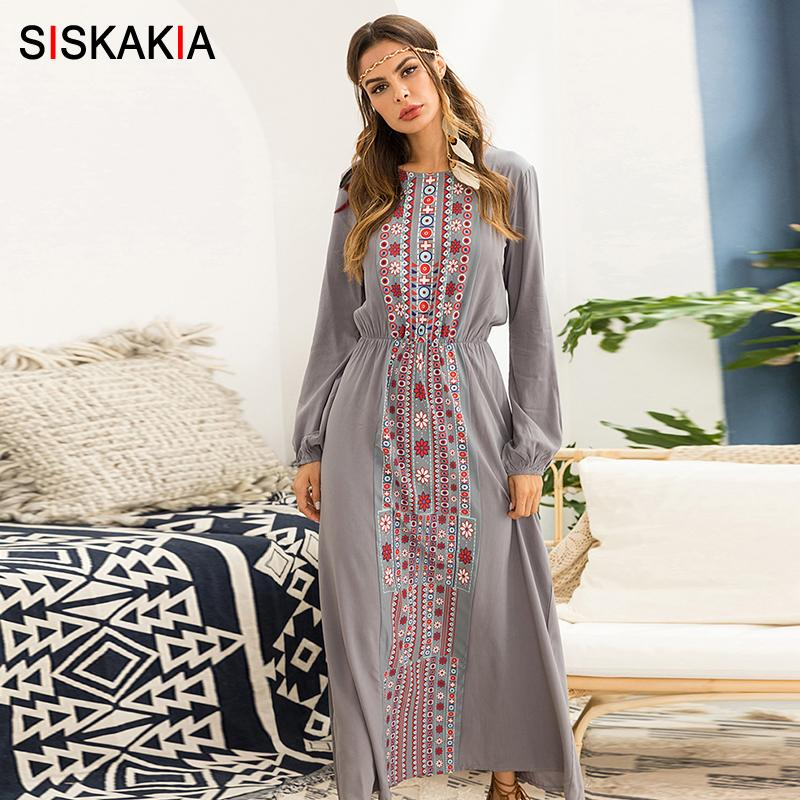 a5d096332176a Siskakia Women Long Dress Autumn 2018 Vintage Geometry Pattern Print Maxi  Dresses Beach Holiday Vocation Dress Gray Long Sleeve Y19012201