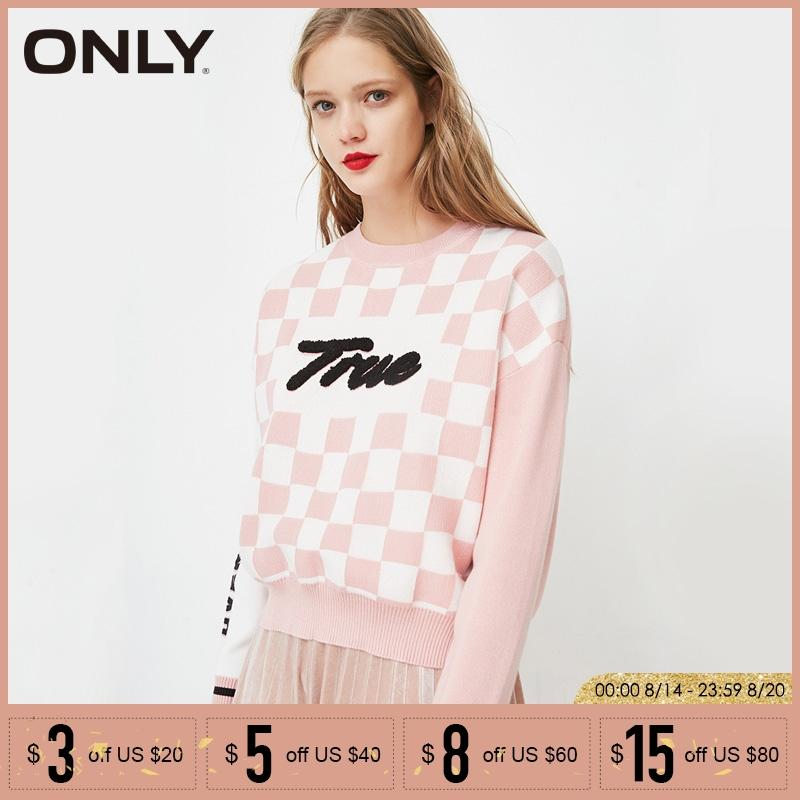 ONLY Letter Printed Grid pullovers knitwear Sweater| 118124518
