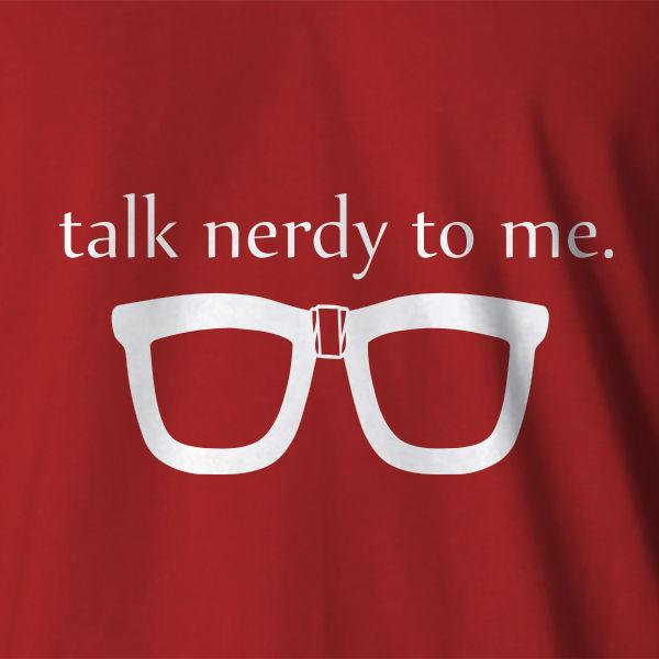 59a8ac710 New Geek T-shirt Talk Nerdy To Me Black Nerd Thick Lensed Glasses ...