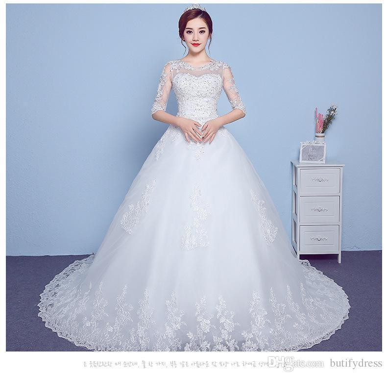 Custom Wedding Dresses Brides Ball Gown Lace Shoulder Elegant High Class Long Tail Brides Dresses Chinese Factory Hand Made