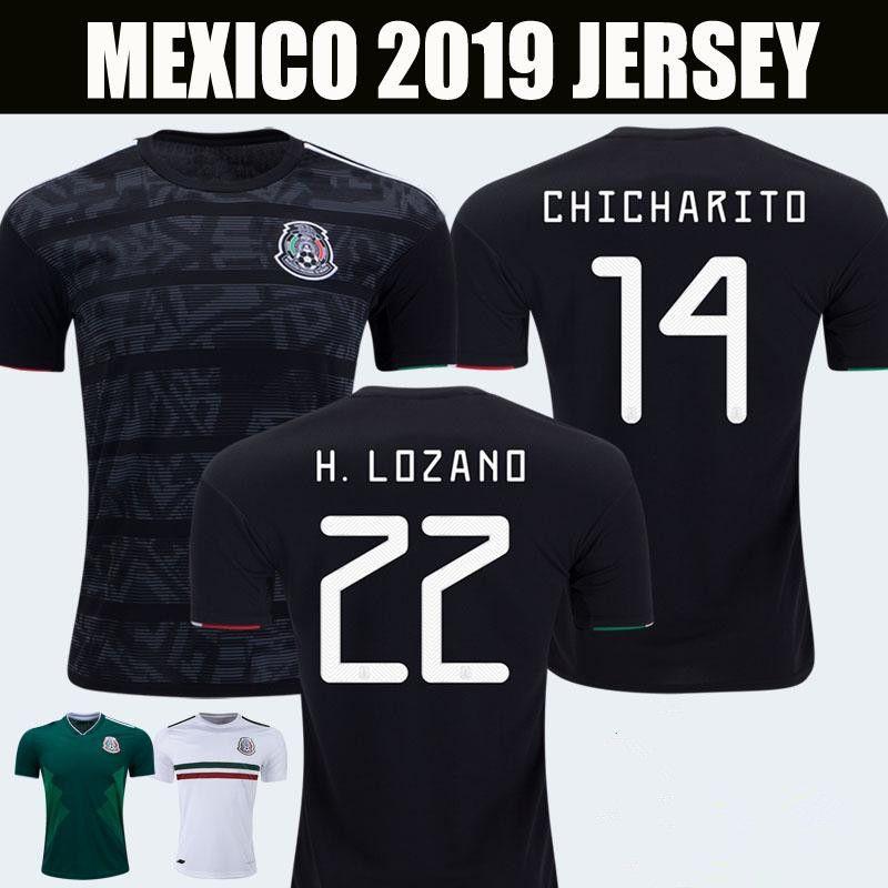 20d2326db 2019 2019 Mexico Gold Cup Home Black Soccer Jerseys CHICHARITO MARQUEZ  Camisetas De Futbol 2018 H.LOZANO G.DOS SANTOS VELA RAUL Football Shirts  From ...