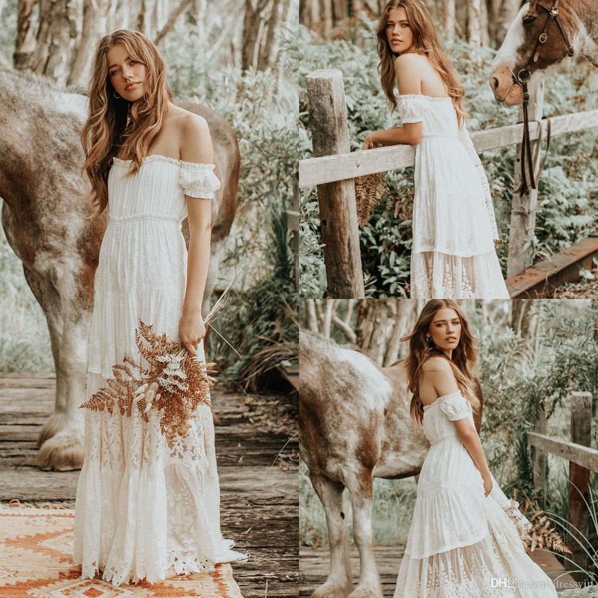 2019 Bohemian Wedding Dresses Off The Shoulder Lace