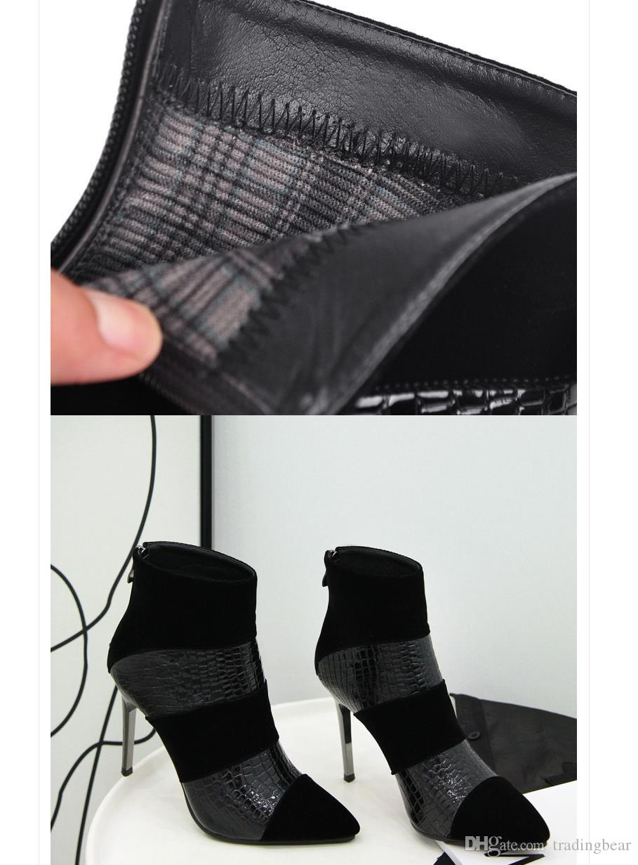 size 33 to 42 43 sexy high heels booties black patchwork Embossed PU Leather red bottom shoes luxury designer women boots