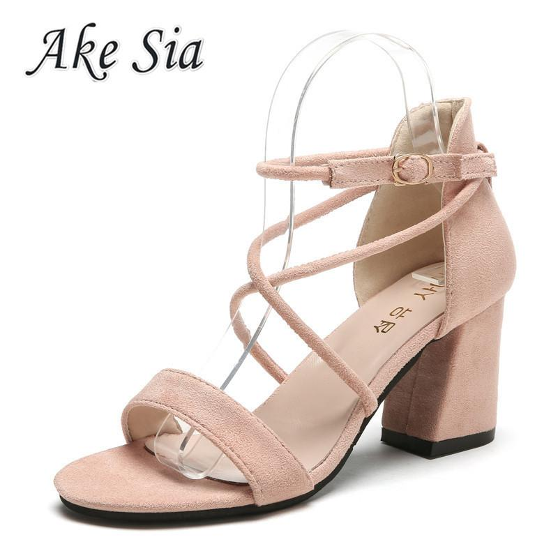 73a045566a Compre Sapatos Sandálias Feminino Verão 2019 Novo Dedo Aberto Simples E  Grosso Com Sandálias Retro Moda Feminina Sandálias De Salto Alto  Confortável K52 De ...