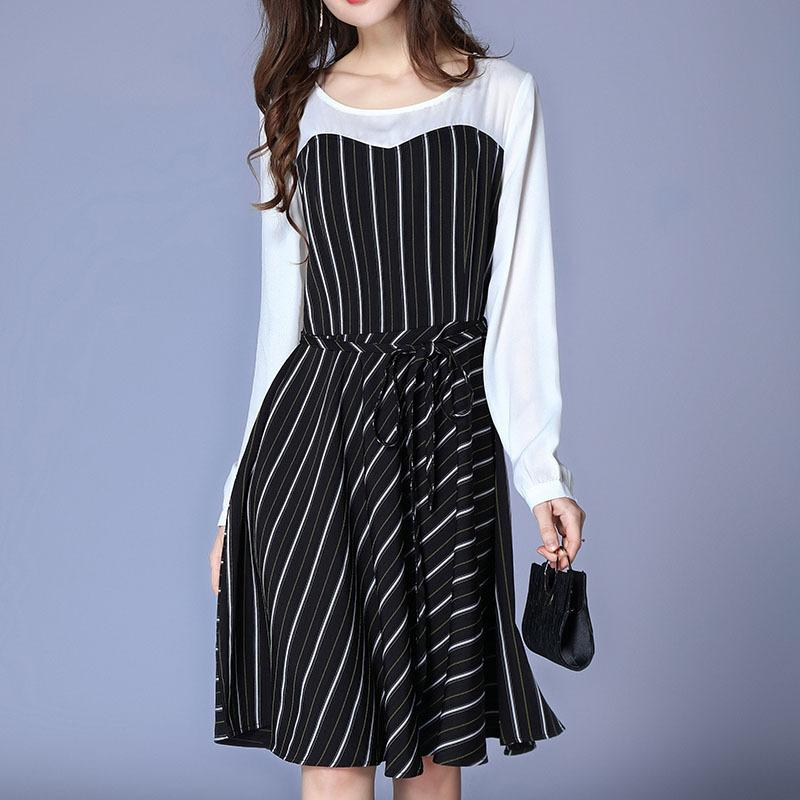 Plus Size Striped Patchwork Long Sleeve Drawstring Tunic Draped Dress Women  Elegant Casual Street Fashion Beach Dress Lady Cloth