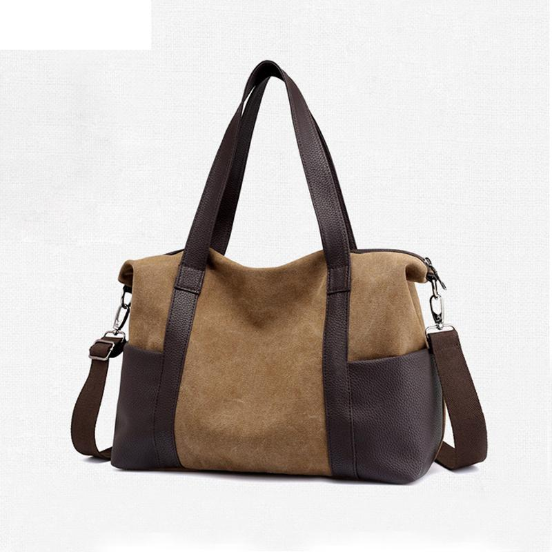 11f40dc3da 2019 Good Quality Canvas Leather Women Travel Bags Carry On Luggage Duffel  Handbags Tote Patchwork Weekend Crossbody Bag Overnight From Hopemoney03